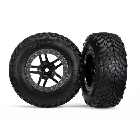 "Traxxas Tires & wheels, assembled, glued (S1 compound) (SCT Split-Spoke black, satin chrome beadlock style wheel, dual profile (2.2"" outer, 3.0"" inner), SCT off-road racing tires, foam inserts) (2) (4"