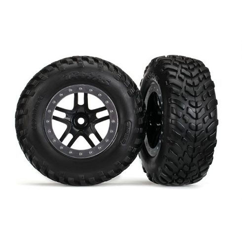 "Traxxas  Tires & wheels, assembled, glued (SCT Split-Spoke black, satin chrome beadlock style wheels, dual profile (2.2"" outer, 3.0"" inner), SCT off-road racing tires, foam inserts) (2) (2WD front)"
