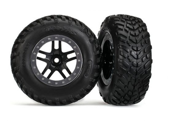 """Traxxas  Tires & wheels, assembled, glued (SCT Split-Spoke black, satin chrome beadlock style wheels, dual profile (2.2"""" outer, 3.0"""" inner), SCT off-road racing tires, foam inserts) (2) (2WD front)"""