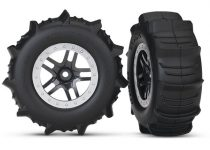 Traxxas Tires & wheels, assembled, glued (SCT Split-Spoke satin chrome, beadlock style wheels, paddle tires, foam inserts) (2) (4WD front/rear, 2WD rear only) (TSM rated)