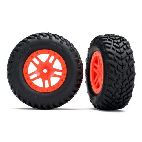 Traxxas Tires & wheels, assembled, glued (SCT Split-Spoke orange wheels, SCT off-road racing tires, foam inserts) (2) (4WD f/r, 2WD rear) (TSM rated)