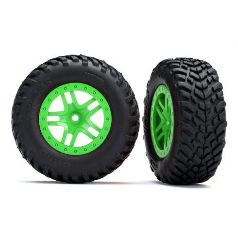 Traxxas  Tires & wheels, assembled, glued (SCT Split-Spoke green wheels, SCT off-road racing tires, foam inserts) (2) (4WD f/r, 2WD rear) (TSM rated)
