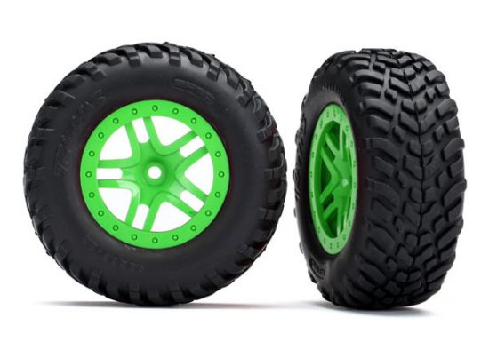 Traxxas  Tires & wheels, assembled, glued (SCT Split-Spoke green wheels, SCT off-road racing tires, foam inserts) (2) (4WD f/r, 2WD rear) (TSM rated)