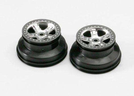 """Traxxas Wheels, SCT satin chrome, beadlock style, dual profile (2.2"""" outer, 3.0"""" inner) (2)"""
