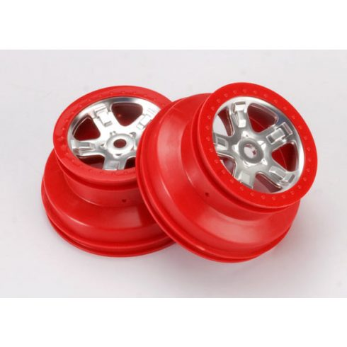 """Traxxas Wheels, SCT satin chrome with red beadlock, dual profile (2.2"""" outer, 3.0"""" inner) (2)"""