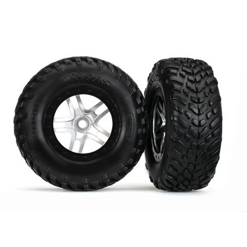 """Traxxas  Tires & wheels, assembled, glued (S1 compound) (SCT Split-Spoke satin chrome, black beadlock style wheels, dual profile (2.2"""" outer, 3.0"""" inner), SCT off-road racing tires, foam inserts) (2)"""