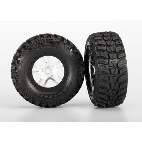 "Traxxas  Tires & wheels, assembled, glued (S1 ultra-soft off-road racing compound) (SCT Split-Spoke satin chrome, black beadlock style wheels, dual profile (2.2"" outer, 3.0"" inner), Kumho tires, foam"