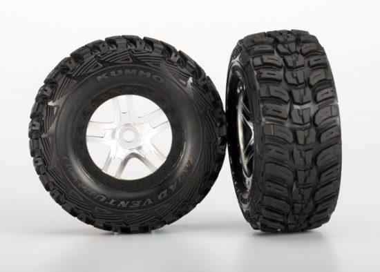 "Traxxas  Tires & wheels, assembled, glued (S1 ultra-soft off-road racing compound) (SCT Split-Spoke satin chrome, black beadlock style wheels, dual profile (2.2"" outer, 3.0"" inner), Kumho tires, foam"