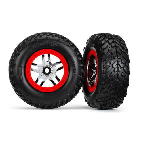 "Traxxas Tires & wheels, assembled, glued (SCT Split-Spoke chrome, red beadlock style wheels, dual profile (2.2"" outer, 3.0"" inner), SCT off-road racing tires, inserts) (2) (front/rear)"