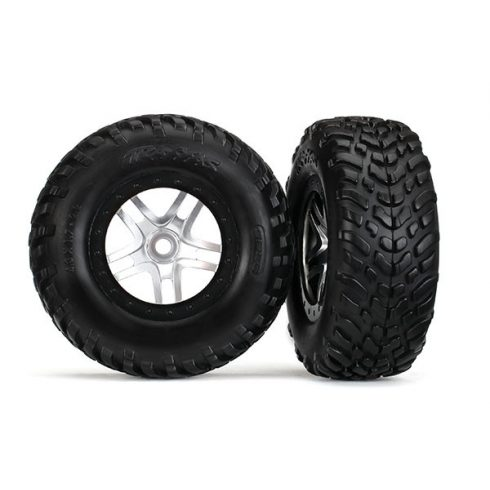 "Traxxas Tires & wheels, assembled, glued (SCT Split-Spoke satin chrome, black beadlock wheels, dual profile (2.2"" outer, 3.0"" inner), SCT off-road racing tires, foam inserts) (2) (front/rear)"