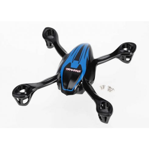 Traxxas Canopy, upper and lower, QR-1, blue/ mounting screws (5)