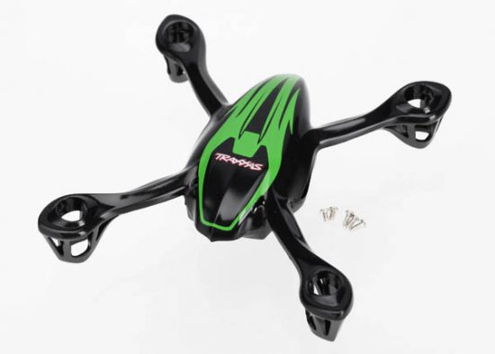 Traxxas Canopy, upper and lower, QR-1, green/ mounting screws (5)