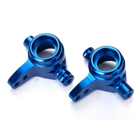 Traxxas Steering blocks, 6061-T6 aluminum, left & right (blue-anodized)