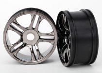 Traxxas Wheels, split-spoke (black chrome) (rear) (2)