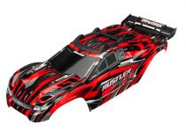 Traxxas  Body, Rustler® 4X4, red/ window, grille, lights decal sheet (assembled with front & rear body mounts and rear body support for clipless mounting)