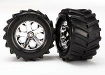 "Traxxas  Tires and wheels, assembled, glued 2.8"" (All-Star chrome wheels, Maxx® tires, foam inserts) (2)"