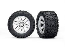 "Traxxas  Tires & wheels, assembled, glued (2.8"") (RXT satin chrome wheels, Talon Extreme tires, foam inserts) (2) (TSM rated)"