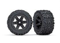 "Traxxas Tires & wheels, assembled, glued (2.8"") (RXT black wheels, Talon Extreme tires, foam inserts) (2WD electric rear) (2) (TSM rated)"