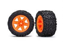 "Traxxas Tires & wheels, assembled, glued (2.8"") (RXT orange wheels, Talon Extreme tires, foam inserts) (2WD electric rear) (2) (TSM rated)"