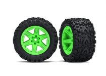 """Traxxas Tires & wheels, assembled, glued (2.8"""") (RXT green wheels, Talon Extreme tires, foam inserts) (2WD electric rear) (2) (TSM rated)"""