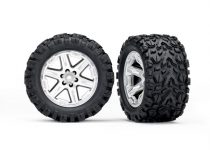"""Traxxas Tires & wheels, assembled, glued (2.8"""") (RXT satin chrome wheels, Talon Extreme tires, foam inserts) (2WD electric rear) (2) (TSM rated)"""