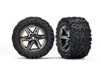 "Traxxas Tires & wheels, assembled, glued (2.8"") (RXT black chrome wheels, Talon Extreme tires, foam inserts) (2WD electric rear) (2) (TSM rated)"