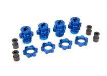 Traxxas Wheel hubs, splined, 17mm, short (4)/ wheel nuts, splined, 17mm (4) (blue-anodized)/ hub retainer M4 X 0.7 (4)/ axle pin (4)/ wrench, 5mm