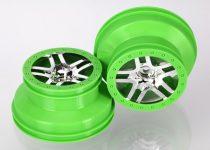 """Traxxas  Wheels, SCT Split-Spoke, chrome, green beadlock style, dual profile (2.2"""" outer, 3.0"""" inner) (4WD front/rear, 2WD rear) (2)"""