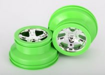 """Traxxas Wheels, SCT, chrome, green beadlock style, dual profile (2.2"""" outer, 3.0"""" inner) (2) (4WD front/rear, 2WD rear only)"""