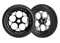 Traxxas Tires & wheels, assembled, glued (aluminum Weld wheels, tires, foam inserts) (front) (2)