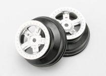 """Traxxas Wheels, SCT satin chrome, beadlock style, dual profile (1.8"""" inner, 1.4"""" outer) (2)"""