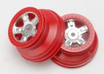 "Traxxas Wheels, SCT satin chrome, red beadlock style, dual profile (1.8"" inner, 1.4"" outer) (2)"