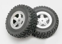 Traxxas  Tires and wheels, assembled, glued (SCT satin chrome wheels, SCT off-road racing tires, foam inserts) (1 each, right & left)