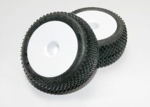 """Traxxas Tires & wheels, assembled, glued (white dished 2.2"""" wheels, Response Pro 2.2"""" tires, foam inserts) (2)"""