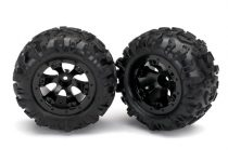 Traxxas Tires and wheels, assembled, glued (Geode black, beadlock style wheels, Canyon AT tires, foam inserts) (1 left, 1 right)