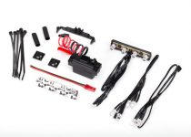 Traxxas LED light kit, 1/16th Summit (power supply, chrome light bar, roof light harness (4 clear, 2 red), chassis harness (4 clear, 2 red), wire ties, mounts)