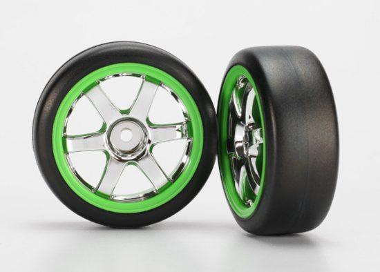 Traxxas Tires and wheels, assembled, glued (Volk Racing TE37 chrome/green wheels, 1.9 Gymkhana slick tires) (2)