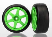 Traxxas Tires and wheels, assembled, glued (Volk Racing TE37 green wheels, 1.9 Gymkhana slick tires) (2)