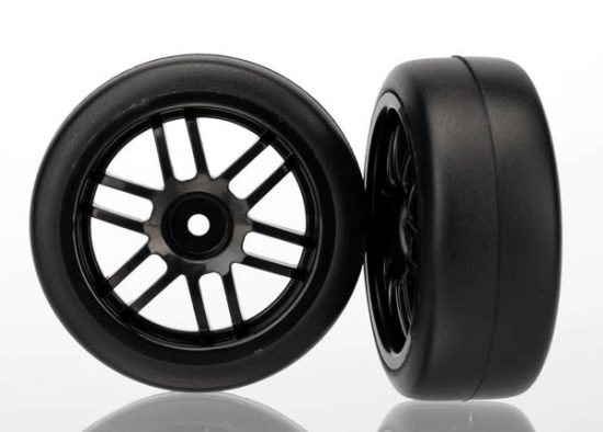 Traxxas Tires and wheels, assembled, glued (Rally wheels, black , 1.9 Gymkhana slick tires) (2)