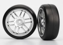 Traxxas Tires and wheels, assembled, glued (Rally wheels, satin, 1.9 Gymkhana slick tires) (2)