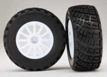 Traxxas Tires & wheels, assembled, glued (White wheels, BFGoodrich® Rally, gravel pattern, tires, foam inserts) (2) (TSM rated)