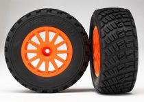 Traxxas Tires & wheels, assembled, glued (orange wheels, BFGoodrich® Rally, gravel pattern tires, foam inserts) (2) (TSM rated)