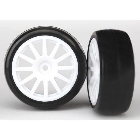 Traxxas  Tires & wheels, assembled, glued (12-spoke white wheels, slick tires) (2)