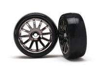Traxxas Tires & wheels, assembled, glued (12-spoke black chrome wheels, slick tires) (2)