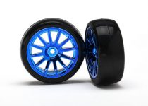 Traxxas Tires & wheels, assembled, glued (12-spoke blue chrome wheels, slick tires) (2)