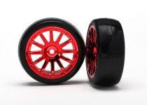 Traxxas Tires & wheels, assembled, glued (12-spoke red chrome wheels, slick tires) (2)