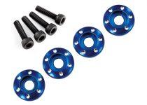 Traxxas  Wheel nut washer, machined aluminum, blue / 3x12mm CS (4)