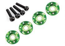 Traxxas  Wheel nut washer, machined aluminum, green / 3x12mm CS (4)