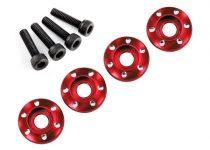 Traxxas Wheel nut washer, machined aluminum, red / 3x12mm CS (4)