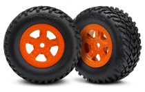 Traxxas Tires and wheels, assembled, glued (SCT orange wheels, SCT off-road racing tires) (1 each, right & left)